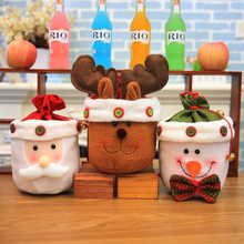 Christmas Cute Gift Candy Bags Santa Claus Snowman Elk Classic Design Christmas Tree Hangings Kid's Xmas Gift Candy Bags 21x20cm(China)