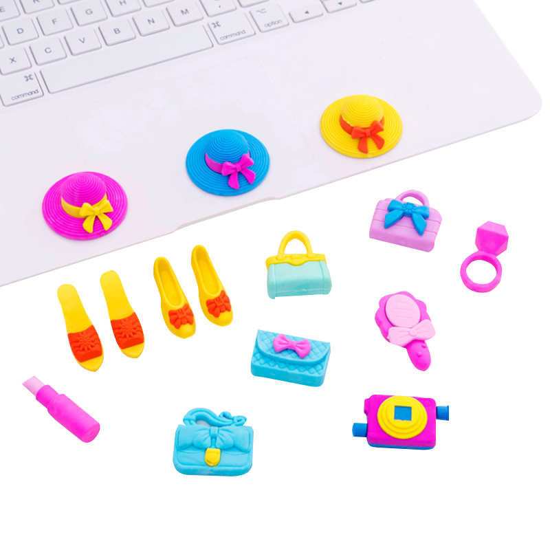 28packs/lot Kawaii Girl Series Hat High Heel Handbag School Office Supplies Rubber Eraser Gift For Kids