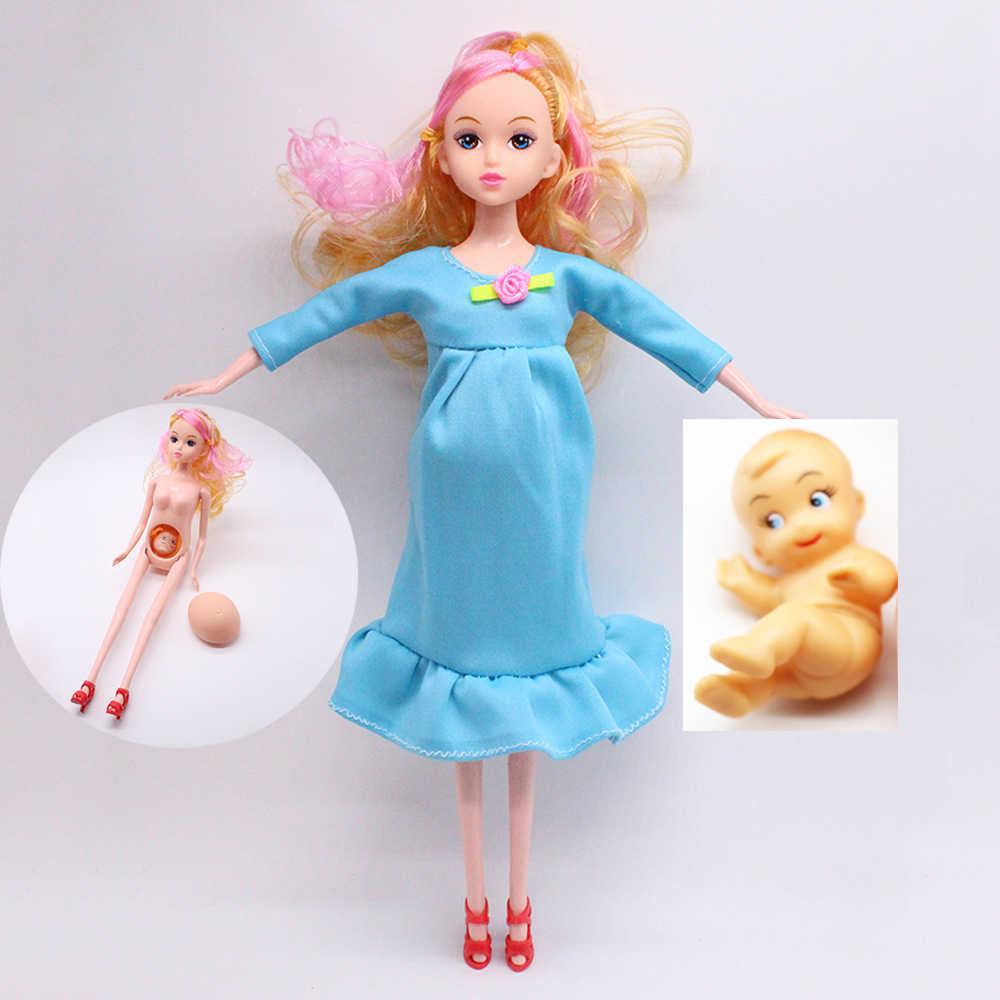어린이 장난감 인형 1pcs 교육 진짜 임신 인형 정장 엄마 인형 바비 인형 어린이 장난감에 대한 그녀의 배에 아기를 가지고
