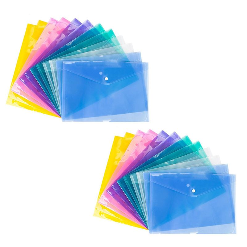 24PCS Transparent PP Water Resistant File Holder Filing Envelope With Snap Button