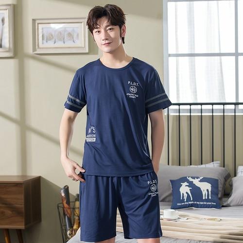 Summer Men Pyjamas Short Sleeved Cotton Blue Pajamas Set Casual Sleepwear Pyjamas Night Suits Pijamas Plus Size L-3XL Homewear