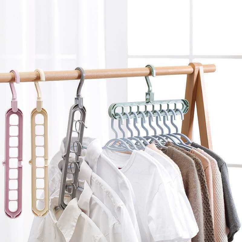 Clothes Multi Hanger Space Saving Folding Hook Rack Wardrobe Organizer 9 Hole