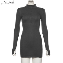 macheda autumn winter stretch Slim Soft Ribbed Knitted turtleneck dress woman 2019 fashion solid black casual bodycon Zip dress