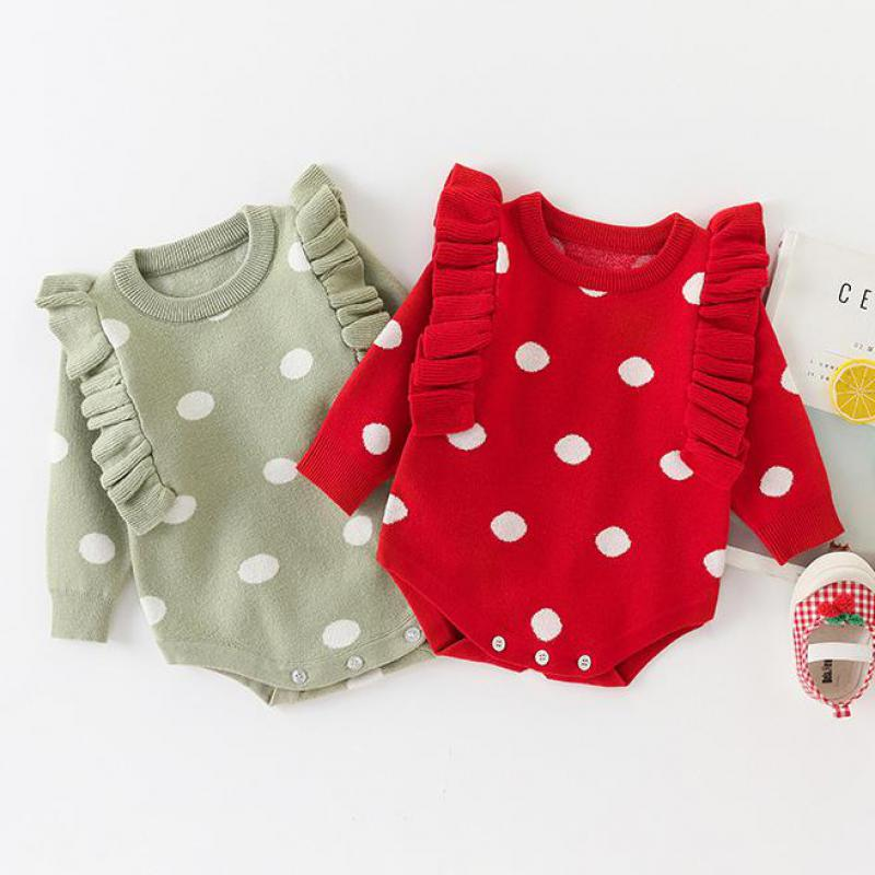 Autumn Baby Girl Knitted Bodysuits Newborn Baby Girl Dot Print Small Fly Sleeve Knit Baby Bodysuit Kids Infant Sweater 1