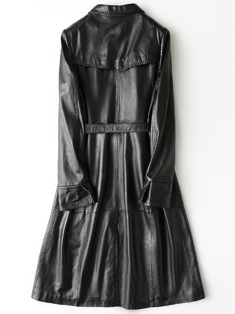 Genuine Leather Jacket Women 2020 Spring Autumn Black Real Sheepskin Leather CoatS Female Long WIndbreaker Manteau Femme LX2633