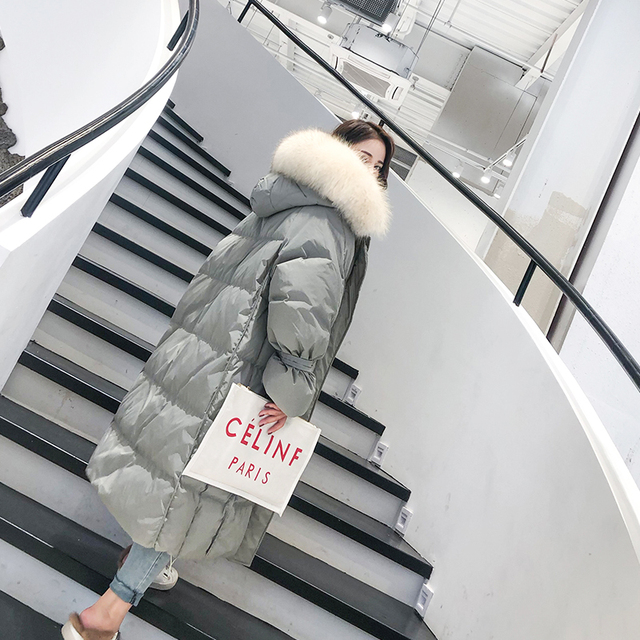 Fashion White Fur Collar Hooded Warm Coat Women X-long Jacket 2020 New Winter Loose Down Jacket Thick Coat Female Outerwear WM22 3