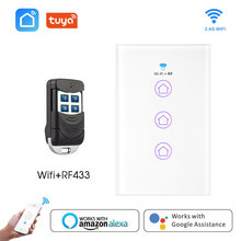 Wifi Smart RF433 Light Switch Glass Screen Touch Panel Voice Control Wireless Wall Switch work with Alexa Google Home 1/2/3-Gang 1 gang wifi control touch switch wallpad 1 gang 1 way wall switch glass panel smart home alexa google home e welink ios android