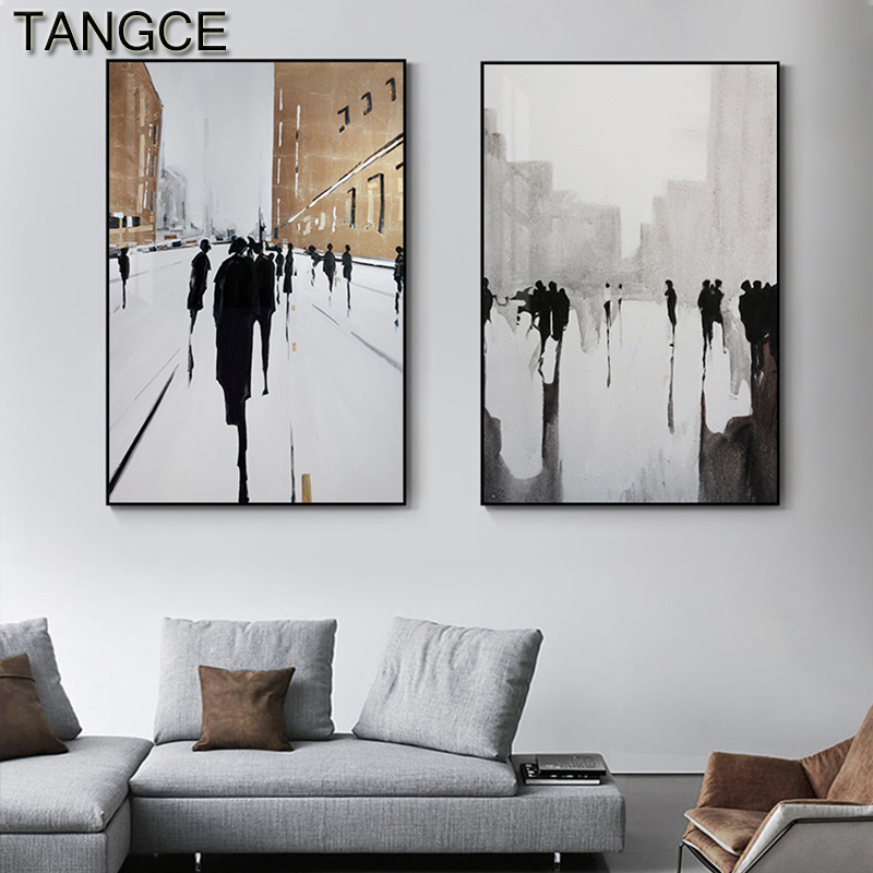 Abstract British Street Poster Modern White Canvas Art Ins Style Wall Picture For Living Room Home Decor Nordic Black Ink Poster