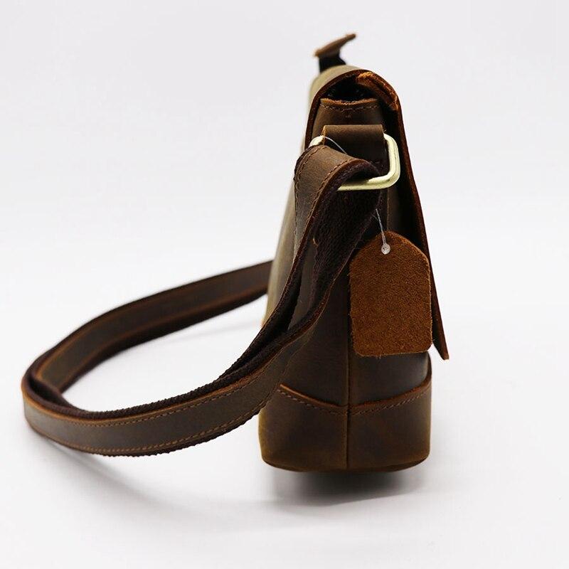 Crazy Horse кожаная мужская сумка через плечо из воловьей кожи женская сумка мессенджер Наплечная Сумка пакет для магазина путешествия унисекс - 5