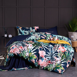 Chinoiserie estilo aves hojas impresas algodón egipcio suave edredón sábana bajera set King Queen Size juego de cama
