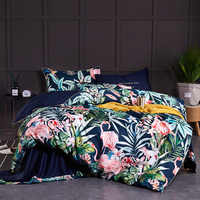 Chinoiserie style Birds Leaves printed Egyptian cotton Soft Duvet Cover Bed sheet Fitted sheet set King Queen Size Bedding Set