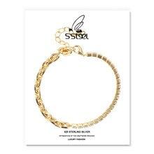 S'STEEL-Pulseras de circón de acero Para Mujer, regalo Para Mujer, Plata de Ley 925, pulsera de cadena personalizada de lujo, joyería Fina Para Mujer