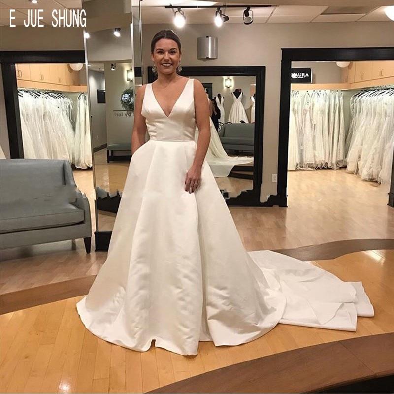 E JUE SHUNG Latest Satin Wedding Dresses Deep V Neck Open Back With Pockets Big Bow Wedding Gowns Sleeveless robe de mariee