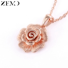 ZEMO Rose Gold Three-dimensional Open Flower Clavicle Necklace for Women Luxury 3D Pendant Necklaces collares de moda 2019