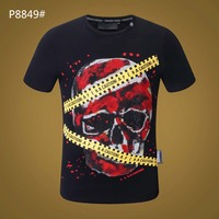 Plein Skull Men T shirt Men's 2019 Summer Fashion Short Sleeve T shirt Street Mans Tops White T Shirt Gym Tshirt Black T shirt