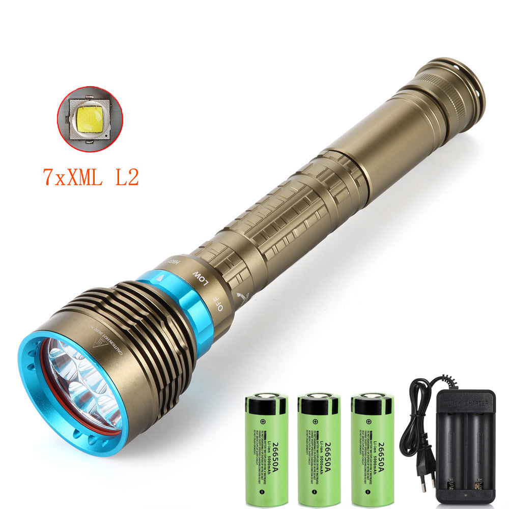 New LED Diving flashlight 7 x XM-L2 7000LM Flashlight Underwater 100M Waterproof Lamp Torch  amp  3x26650 battery   charger