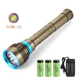 Nueva linterna de buceo LED 7 x XM-L2, linterna de 7000LM bajo el agua de 100M, lámpara resistente al agua, linterna y 3x26650 batería + cargador