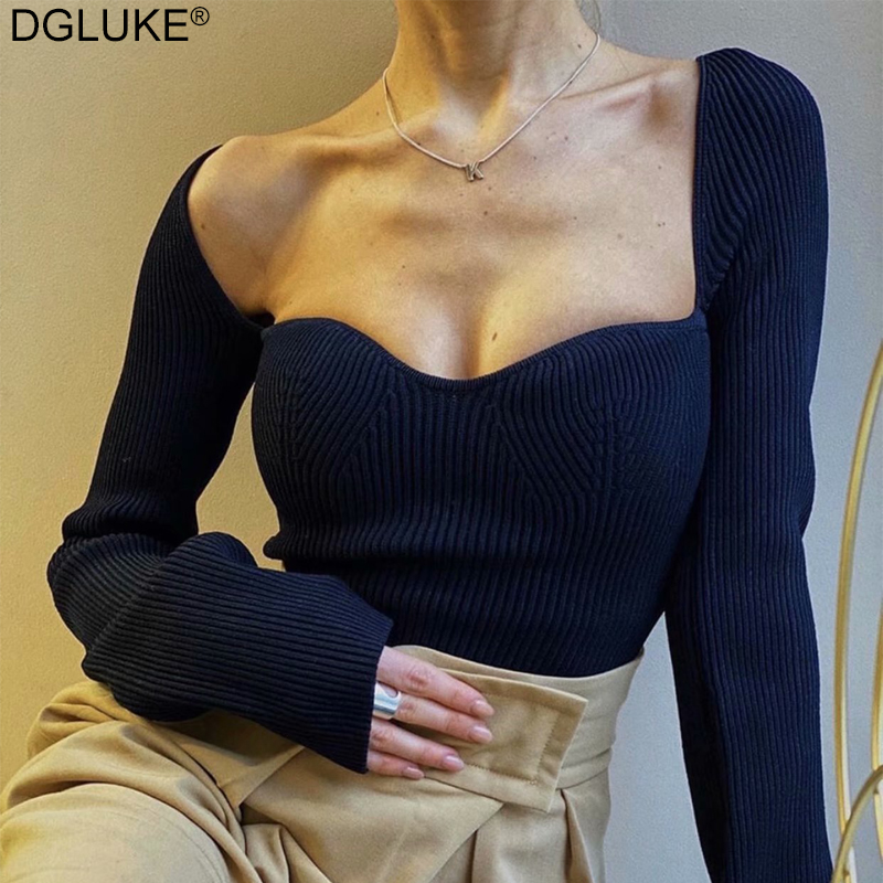 DGLUKE Fashion Women's Sweater Square Collar Long Sleeve Pullover Jumper Knitted Crop Tops Ladies Elegant Sweaters Black White