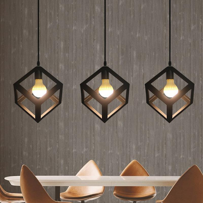 Iron Metal Cage Pendant Light Nordic Vintage Industrial Cube Accessory Loft Ceiling Modern Lamp For Home Bar Cafe