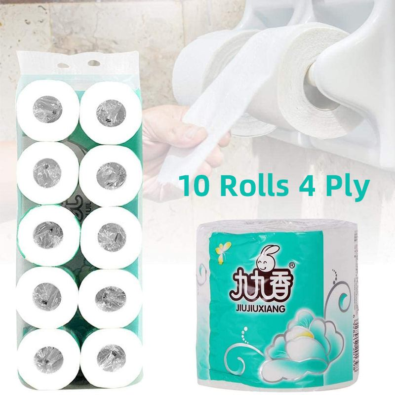 10rolls 4 Ply Toilet Tissue Soft Toilet Paper Home Washroom Roll Paper For Household Bathroom Sanitary Supplies US Fast Shipping