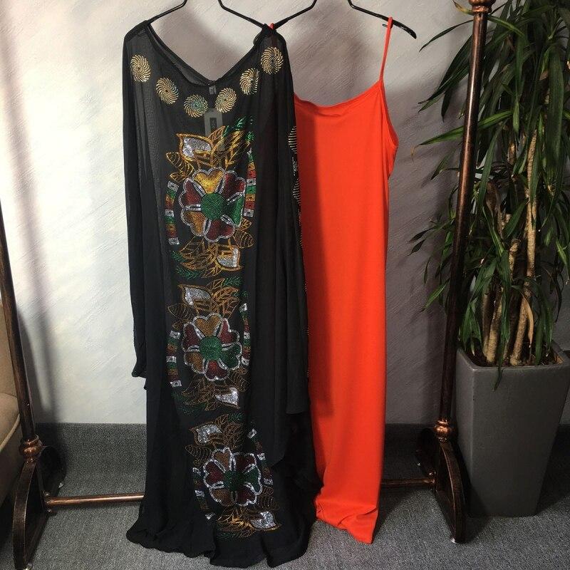 Robes africaines pour femmes noir Dashiki diamant vêtements africains Bazin Broder Riche Sexy mince Robe de soirée longue Robe
