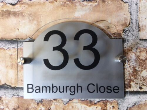 Customize MODERN HOUSE SIGN PLAQUE DOOR NUMBER HOUSE NAME GLASS AND ALUMINIUM EFFECT