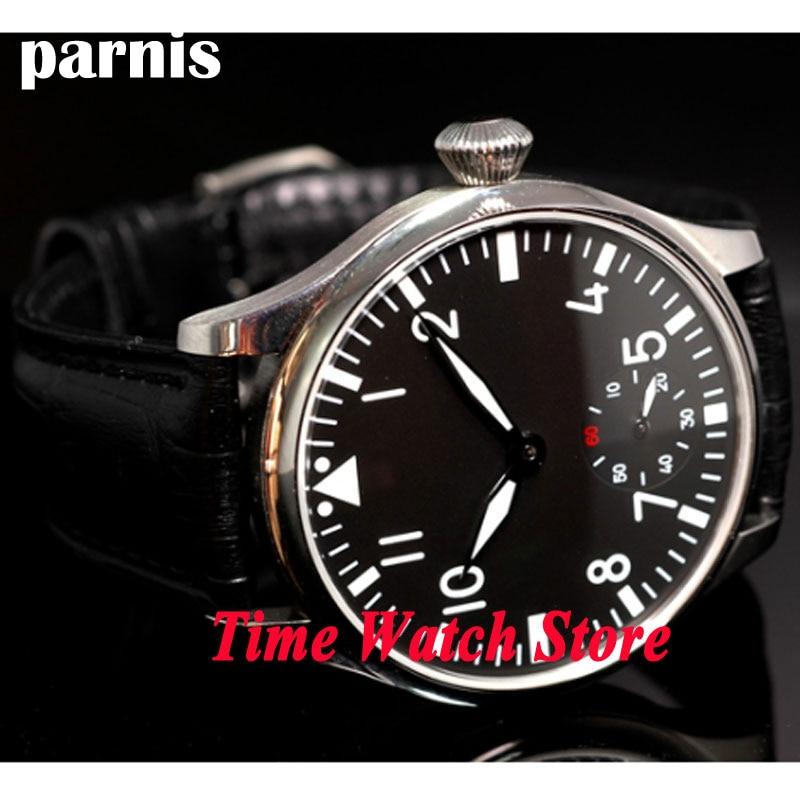 44mm Parnis black sterial dial luminous 6498 mechanical hand winding movement Men's watch P33|watch men|watch men watch|watch watch - title=