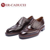 2019 Flat Men Shoe Genuine Leather Luxury Brand Handmade Vintage Retro Office Formal Wedding Party Mens Derby Shoes Italian