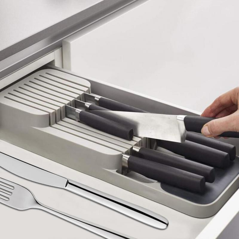 Knife Block Holder Drawer Knives Fork Spoons Storage Rack Knife Stand Cabinet Tray Kitchen Cutlery Organizer Kitchen Gadgets New