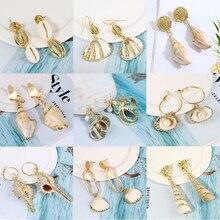 Women Exaggerated Irregular Natural Pearl Shell Earrings Alloy Personality Geometric Pendant Dangle