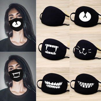 Anti PM 2.5  Mouth Masks Cotton Cartoon Anime Teeth Anti Haze bacteria Flu Face Masks Black For Cycling Outdoor D40