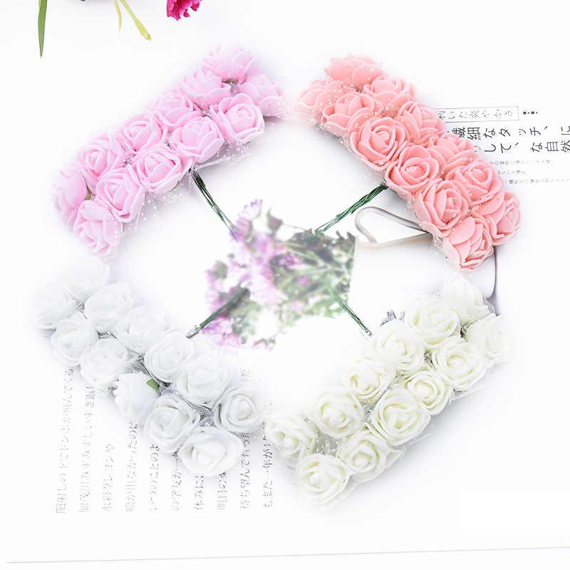 144 ชิ้นคริสต์มาสตกแต่งพวงหรีดดอกไม้PEตุ๊กตาหมีกุหลาบงานแต่งงานสมุดภาพประดิษฐ์ดอกไม้ตกแต่งบ้านดอกไม้ปลอม