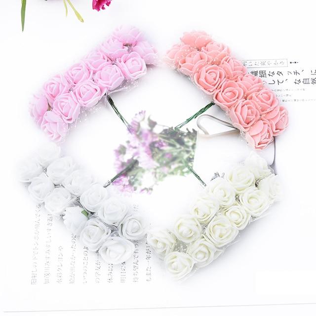 144 piezas flor decorativa de Navidad guirnalda PE oso de peluche de rosas álbum de recortes de boda flores artificiales decoración del hogar flores falsas