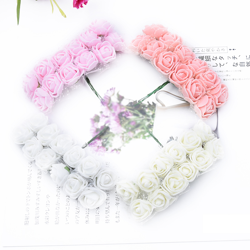 144Pieces Christmas Decorative Artificial Flowers Wreath PE Teddy Bear of Roses 2