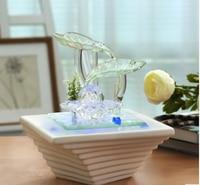 Desktop waterscape green leaf fountain waterfall interior decoration glass ceramic aquarium humidifier fog craft decoration