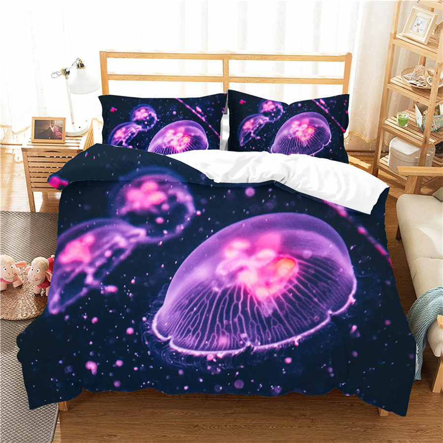 A Bedding Set 3D Printed Duvet Cover Bed Set Sea Jellyfish Home Textiles For Adults Bedclothes With Pillowcase #SM12