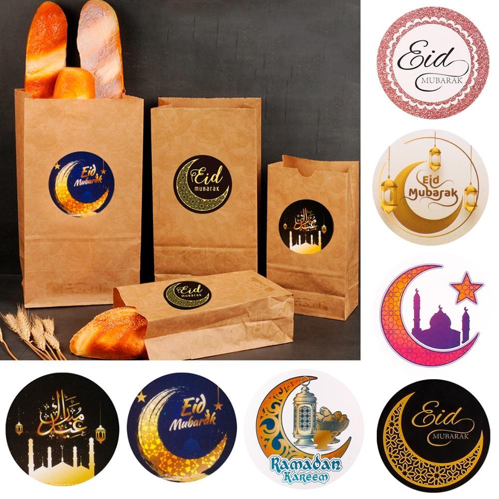 PATIMATE 60pcs Paper Sticker Eid Mubarak Ramadan Decoration For Home Islamic Muslim Party Decor Kareem Ramadan And Eid Decor