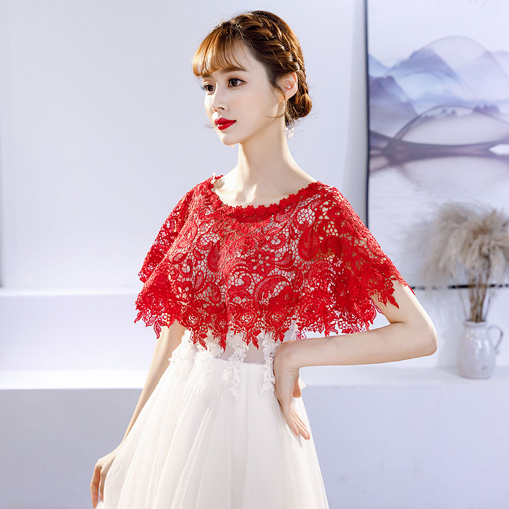 Red Lace Applique Wrap Sheer Short Cape Women Evening Party Dress Cover Up Bridal Bridesmaids Wedding Shrug Accessories