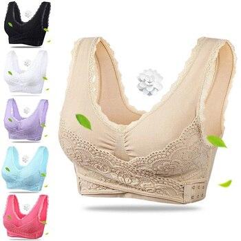 Sexy Lace Bras Push Up Lingerie For Women Cross Side Buckle Brassiere Underwear Wireless Plus Size Bra Females Intimates #F