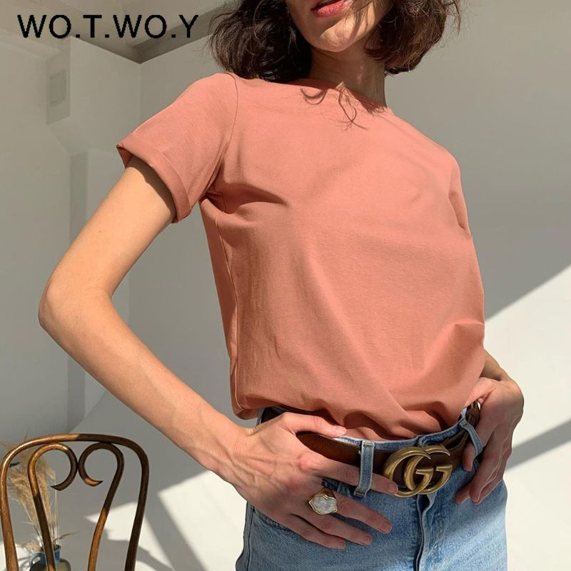 WOTWOY Casual Cotton Basic T-shirt Women Loose Short Sleeve Knitted Tee Shirts Female Solid Tees Ladies Summer Tops Harajuku New