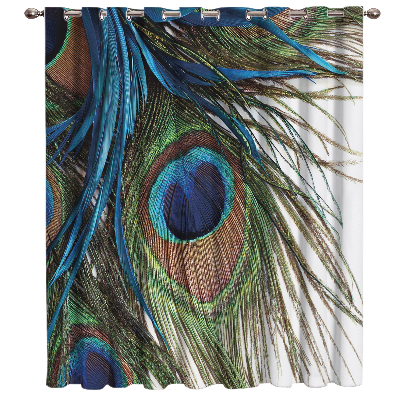 Peacock Feather 3D Painting Art Room Curtains Large Window Living Room Bedroom Kitchen Outdoor Indoor Fabric Print Curtain
