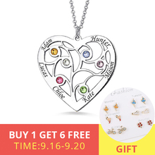 XiaoJing Personalized 925 Sterling Silver Heart Family Tree Necklace Custom Name&Birthstones For Mother Gift Free shipping