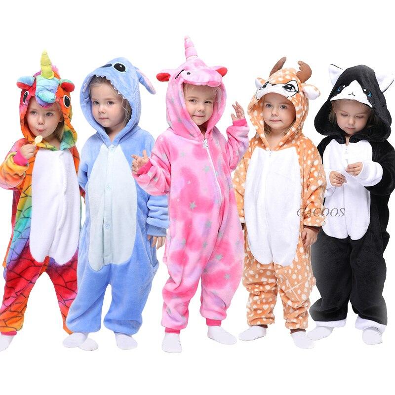 Kugurumi Baby Girls Winter Pajamas Unicorn Cartoon Animal Onesies Pijamas Kids Sleepwear Flannel Warm Jumpsuit Children Pajamas