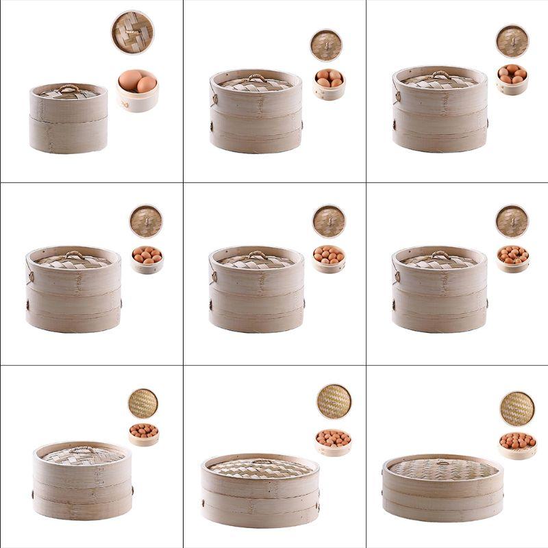 4 Inch Itchen Bamboo Steamer Basket Asian Food Steamer For Dim Sum Dumplings D08F