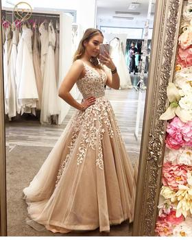 Beaded Prom Dresses Long 2020 V Neck Lace Applique Champagne Gown Robe De Soiree Ball Evening Party Formal