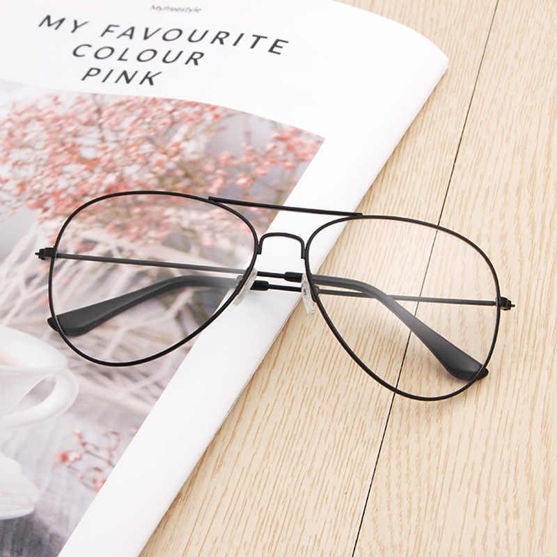 Trend Retro Brilmontuur Optische Bril Mannen En Vrouwen Studenten Gewoon Glas Aviator Zonnebril Transparante Booties Metalen Vlakte