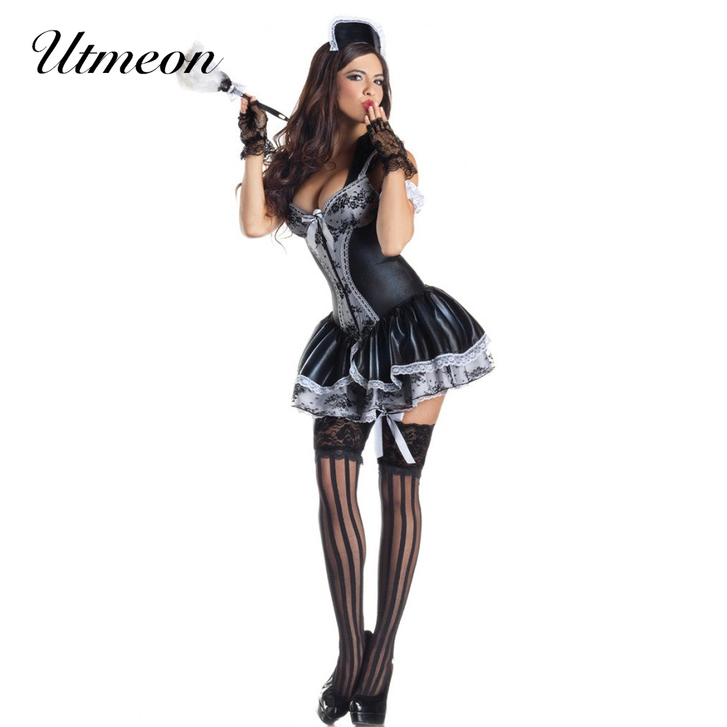 UTMEON Plus Size <font><b>Halloween</b></font> <font><b>Costumes</b></font> <font><b>for</b></font> <font><b>Women</b></font> <font><b>Sexy</b></font> Exotic Apparel Maid Cosplay Late Nite French Maid <font><b>Costume</b></font> Servant Cosplay image