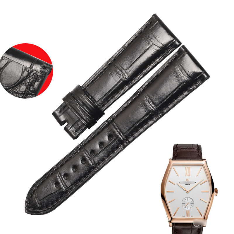 WENTULA watchbands for Vacheron Constantin VC82130 alligator skin /crocodile grain leather strap watch band