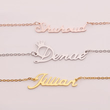 Personalized Custom Name stainless steel Necklaces Custom Name kolye Personalized Name Plate Jewelry for women Family(China)