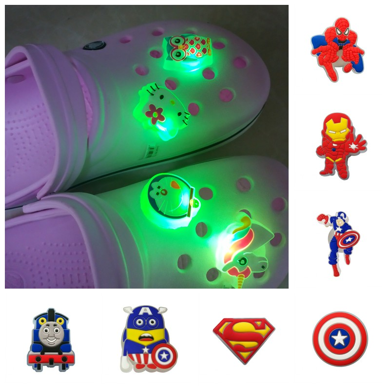 1PCS Avengers  LED Shoe Charms PVC Shoe Buckles Light Shoes Accessories Ornaments Fit For Croc JIBZ Party Gift
